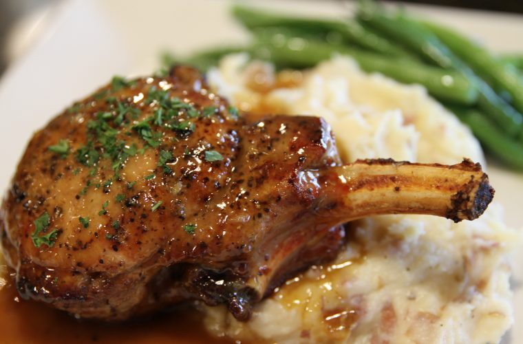 Pan Sear Pork Chop with our Bourbon Glaze